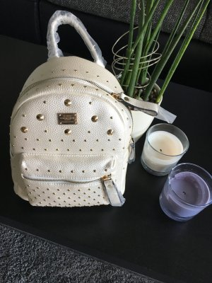 Mochila blanco-color oro