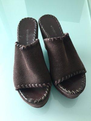 Studio pollini Wedge Sandals dark brown suede