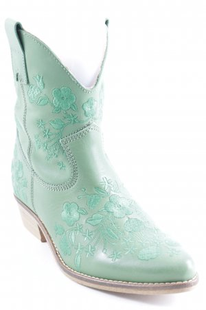 studio W Western Booties khaki-forest green floral pattern country style