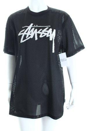 Stüssy Netzshirt schwarz-weiß Schriftzug gedruckt Boyfriend-Look