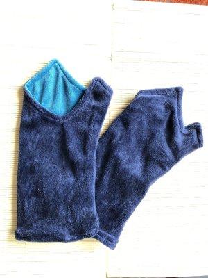 Stulpen Pulswärmer Nicki mit Daumenloch zweifarbig blau/hellblau