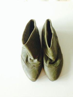 Stulpen Slouch Umschlag Booties Boots Ankle khaki Glattleder Winter Blogger