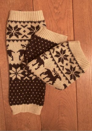 Legwarmers oatmeal-black brown