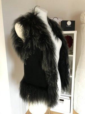 Style & Butler Gilet en fourrure noir-gris pelage