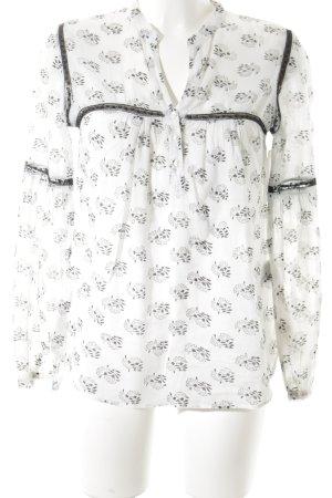 Style & Butler Langarm-Bluse weiß-schwarz florales Muster Casual-Look