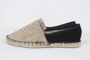 Stylesnob Espadrille sandalen zwart-beige Leer
