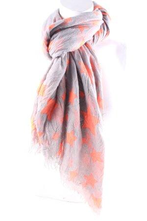 Stylesnob Écharpe à franges gris clair-orange fluo style décontracté