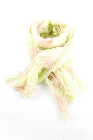 Stylesnob Sjaal met franjes weidegroen-abrikoos batik patroon Jaren 60 stijl