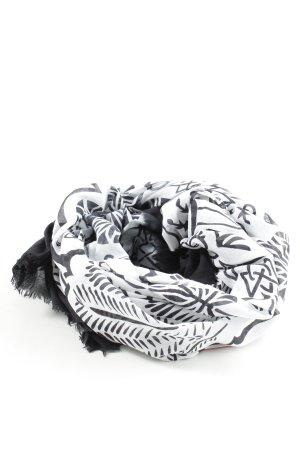 Stylesnob Fazzoletto da collo bianco-nero motivo astratto stile casual