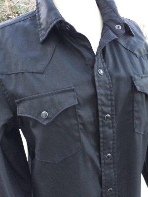 Stylisch puristische Hemdbluse Polo *Ralph Lauren* M schwarz leicht gechinztes Material