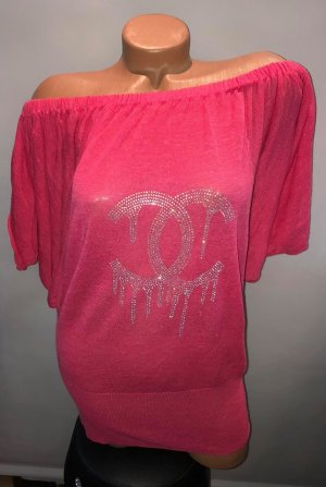 Stylische Apart Bluse Tunika in gr 40 Farbe Pink Strass