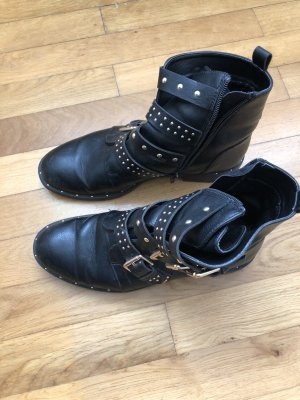 Stylische Biker-Boots Leder schwarz