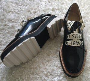 Stylische Blogger Plateau Damen Lack Schuhe schwarz von Zara Gr. 36 Neu