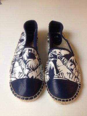 Stylische Espadrilles in blau mit Kunstleder und Palme ♥neu♥