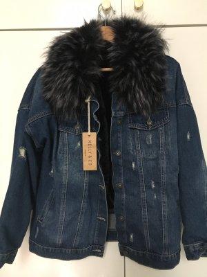 Stylische Fell Jeans Jacke Gr 42 NEU