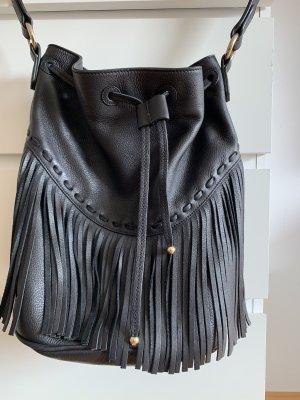 Massimo Dutti Fringed Bag black brown-dark brown
