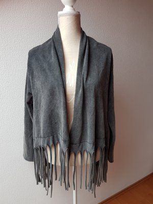 Fringed Vest dark grey-anthracite cotton