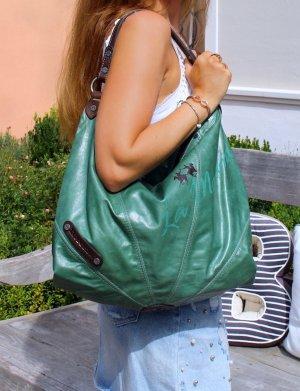 Stylische Handtasche Shopper echtes Leder grün von La Martina Neu mit Etikett