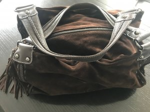 Stylische Handtasche von Abro, Veloursleder dunkelbraun