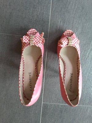 Peep Toe Pumps raspberry-red-neon pink imitation leather