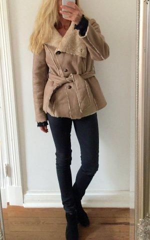 stylische Jacke von PROMOD mit Gürtel * Lammfellimitat * Gr. 38 M