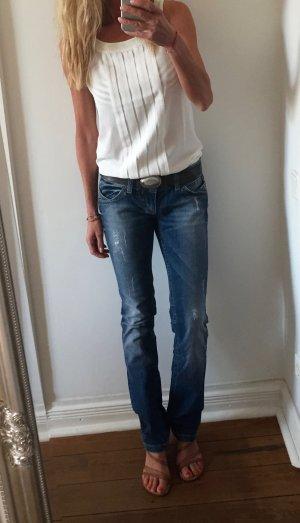 Lost in Paradise Jeans coupe-droite bleu acier coton
