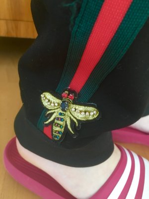 Stylische Jogginghose Strech mit Streifen in Grün Rot goldene Biene 36-38