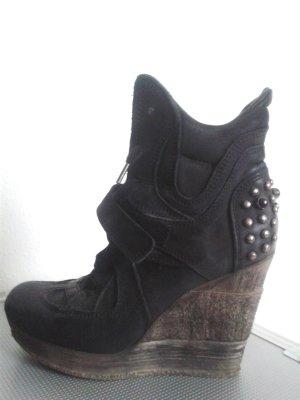 Stylische Keil Booties Schnürstiefeletten Boots ECHT Leder VIVIAN  Made in Italy