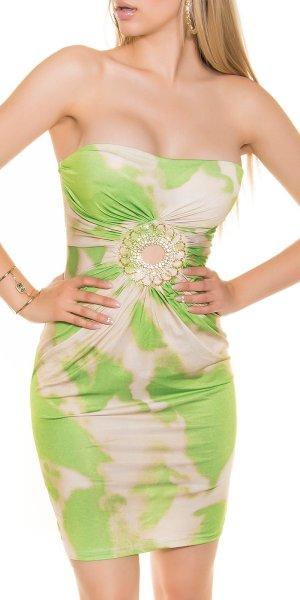 Vestido bustier verde pradera-crema tejido mezclado