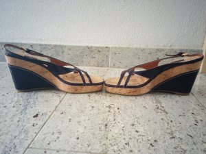 stylische Kork-Wedges in Pflaume