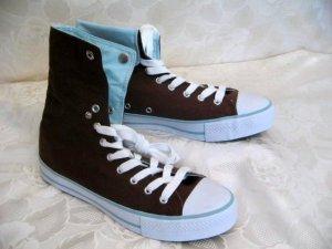 Stylische Kult Turnschuhe High-Top Sneakers Leinen Sneaker Größe 40 Braun