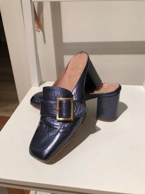 Sandalo con tacco blu acciaio Pelle