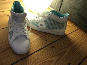 Stylische LACOSTE high top Sneaker Größe 41 weiß türkis NEU