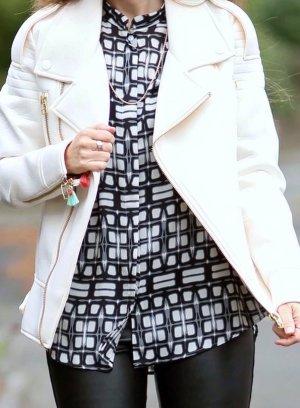 Stylische Langarm Bluse schwarz/ weiß von Eterna Gr. 34