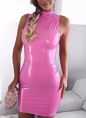 Leather Dress neon pink mixture fibre