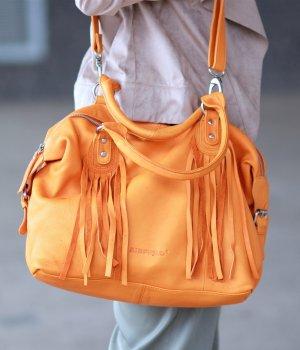 Stylische Leder Handtasche orange von Airfield Top