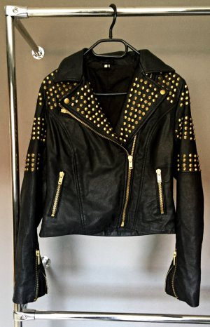 Topshop Leather Jacket black-gold-colored