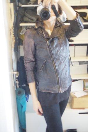 Stylische Lederjacke von Muubaa aus Lammleder mit Rippstrickbundeinsätzen