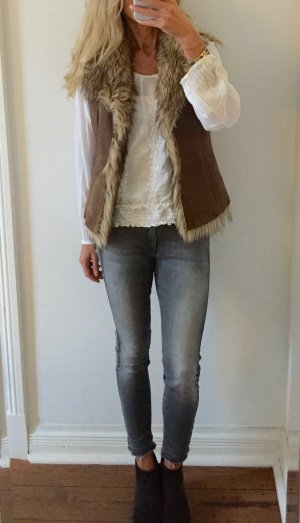 Oakwood Leather Vest taupe leather