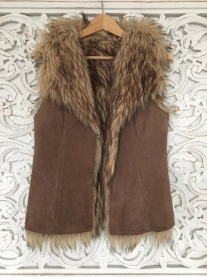 stylische Lederweste von OAKWOOD * Impressionen Verlag * echtes Leder * innen Fake Fur * Gr. S 36 * NEU!