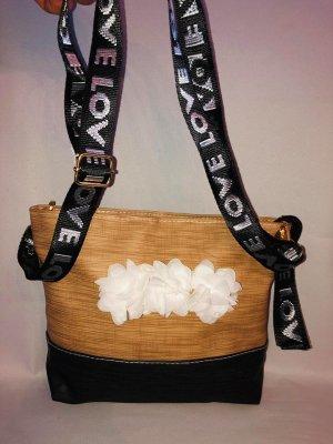Stylische Love Handtasche in Farbe Beige Schwarz  Rosen Neu
