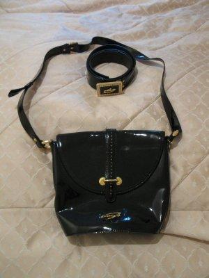 Stylische neue italienische Tasche + Gürtel Set in Schwarz -Gold aus Lackleder