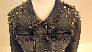stylische, Nietenbesetzte, kurze Jeansjacke, Gr.36