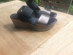 Plateauzool Sandalen met Hoge Hakken zwart-zilver