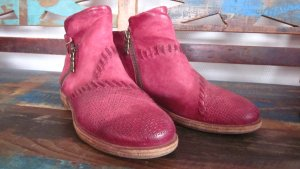 Airstep Zipper Booties bright red-raspberry-red leather