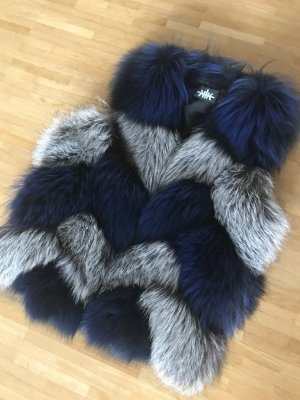 Fur vest silver-colored-blue fur