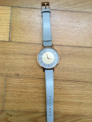 H&M Watch With Leather Strap light grey-rose-gold-coloured leather