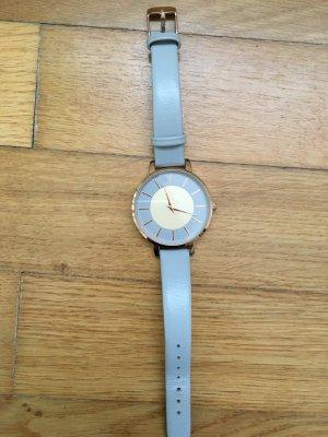 H&M Horloge met lederen riempje lichtgrijs-roségoud