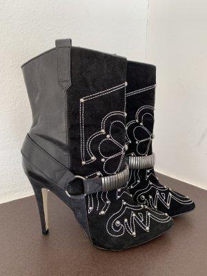 Stylische Western Boots Glatt- und Wildleder Nieten Gr. 39