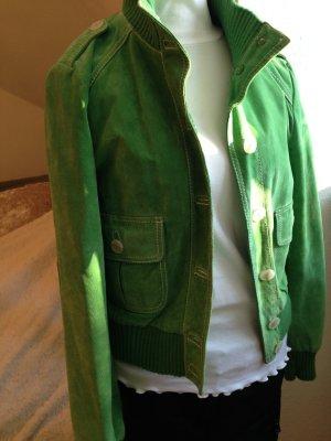 stylische Wild-Lederjacke in tollem Grün von Hallhuber, Größe S